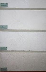 Die unterschiedlichen Kalkputze sind unterschiedlich gekörnt.